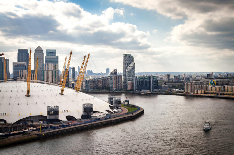 Aerial view of River Thames, North Greenwich and the Docklands on a cloudy day in London, England. UK stock photography