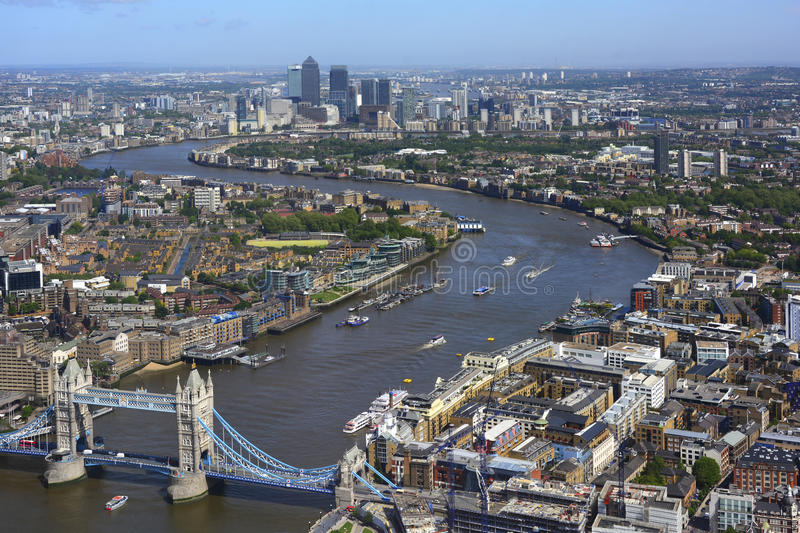 Aerial View River Thames Between Tower Bridge And Royalty Free Stock Photo