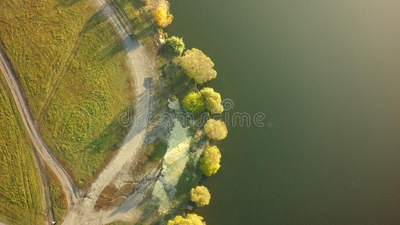 Aerial view on the river and tree in royalty free stock photos