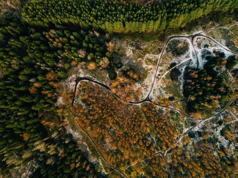Aerial view of road in autumn forest. Fall landscape with rural road, red, yellow trees with frost. stock photography
