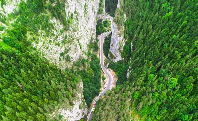 Aerial view of road in Bicaz Gorges stock images
