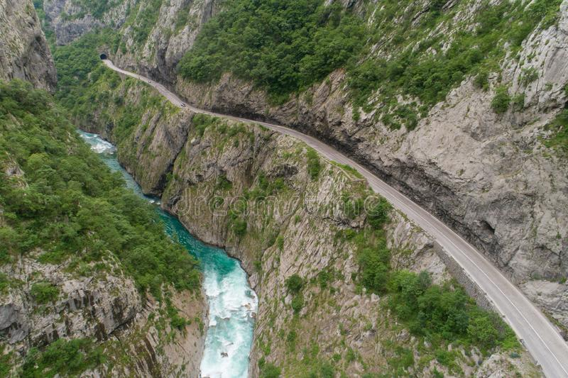 Aerial view of the road in the canyon of the river Moraca stock photo