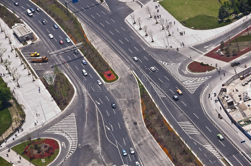 Aerial view of a road with cars in Shanghai China stock image