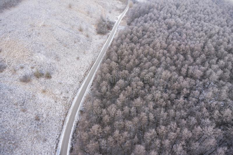 Download Aerial View On Road And Forest Landscape In Winter Season. Stock Image - Image of flowing, high: 107764435
