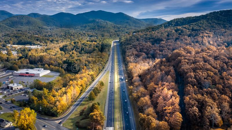 Aerial view road I-40 in North Carolina leading to Asheville during the Fall royalty free stock images