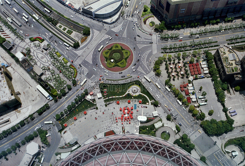 Aerial view of a road intersection stock photography