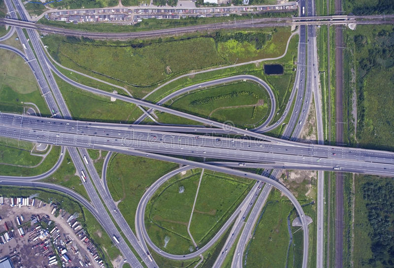 Aerial view on road junction stock photography