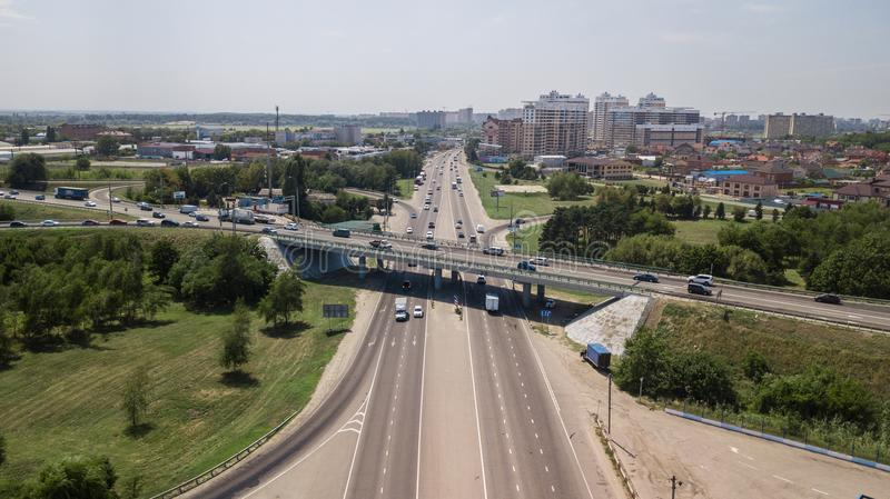 Top down aerial view of transportation highway overpass, ringway, roundabout stock photography