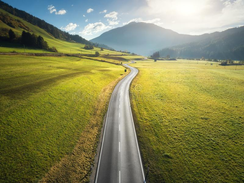 Aerial view of the road in mountain valley in Dolomites, Italy stock image