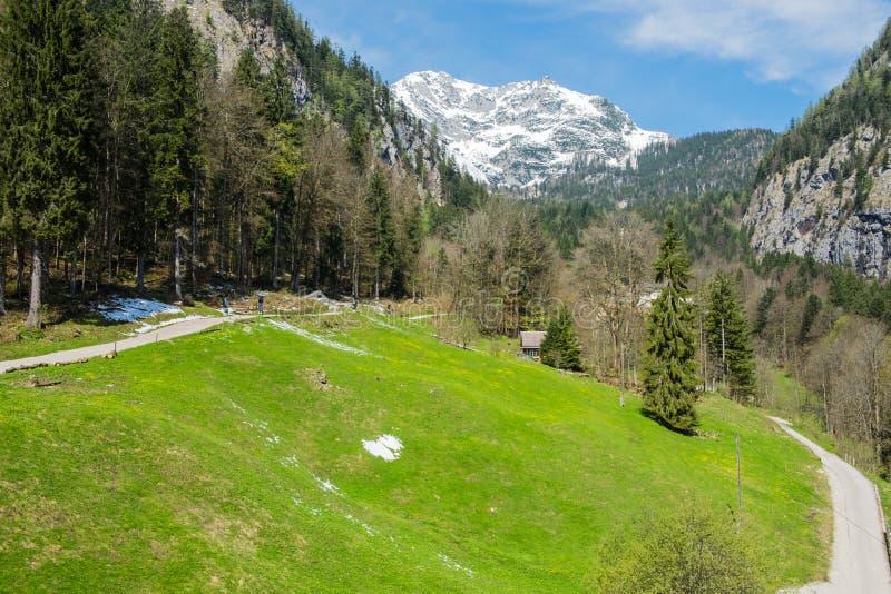 Aerial View road to hallstatt city royalty free stock photos