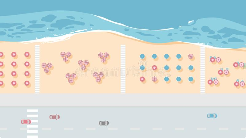 Aerial view road and sea beach with beach umbrellas and walking path. Blue tone stock illustration