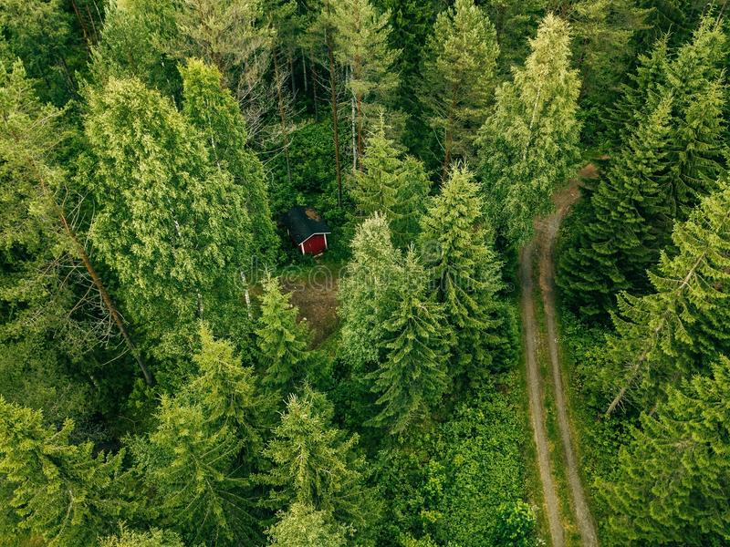 Aerial view of the road through the spruce forest. red cabin in the forest in Finland stock photos