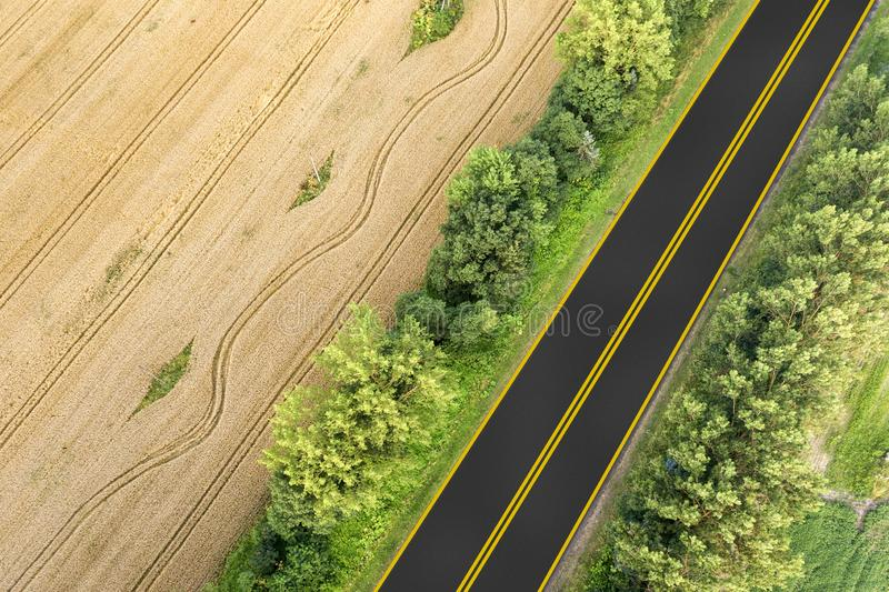 Aerial view of a road between yellow wheat fields and green trees.  stock photos