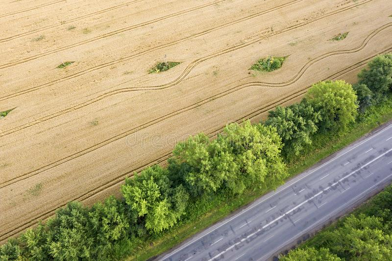 Aerial view of a road between yellow wheat fields and green trees.  stock image