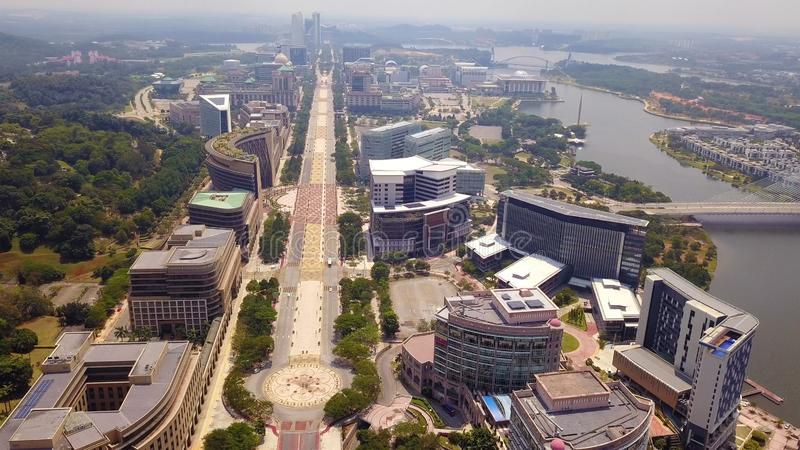 Aerial view of roads in Putrajaya City with garden landscape design. Federal territory of Malaysia in Kuala Lumpur City.  royalty free stock photos