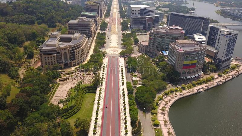 Aerial view of roads in Putrajaya City with garden landscape design. Federal territory of Malaysia in Kuala Lumpur City.  royalty free stock photography