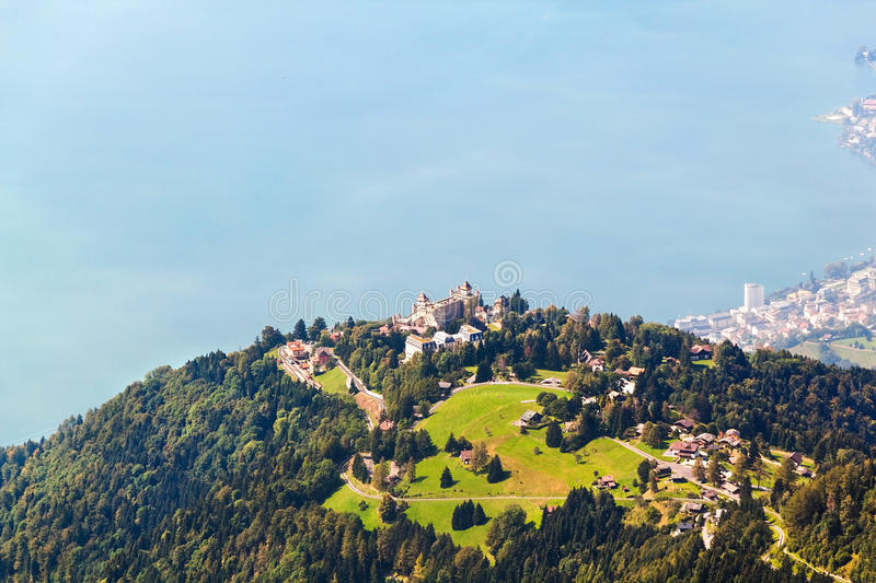 Aerial view from the Rochers de Naye, Switzerland.  stock image