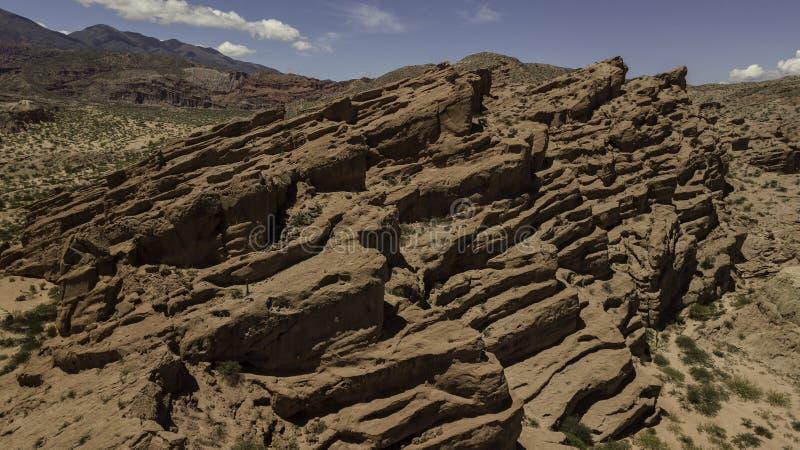 Aerial view of rock formation called Los Colorados, near Cafayate city, Salta province, Argentina. Part of Quebrada de las Conchas royalty free stock image