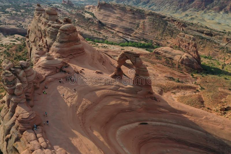 Aerial view of the rock formations and Delicate Arch in Arches National Park in Utah stock photo