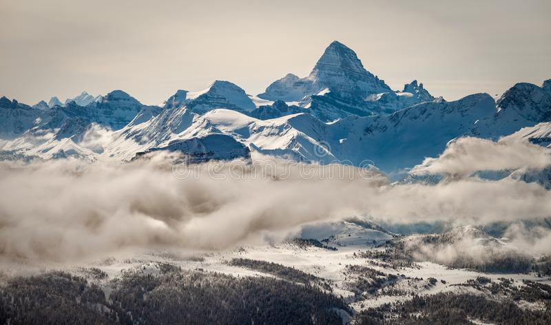 An aerial view of the Rocky Mountains and Mount Assiniboine in winter stock image