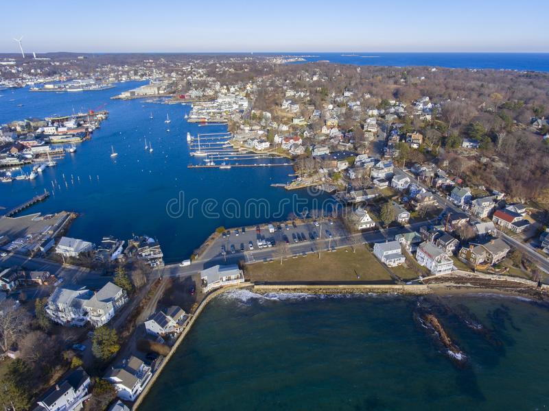 Rocky Neck in Gloucester, Cape Ann, MA, USA. Aerial view of Rocky Neck and Gloucester Harbor in City of Gloucester, Cape Ann, Massachusetts, USA royalty free stock photos