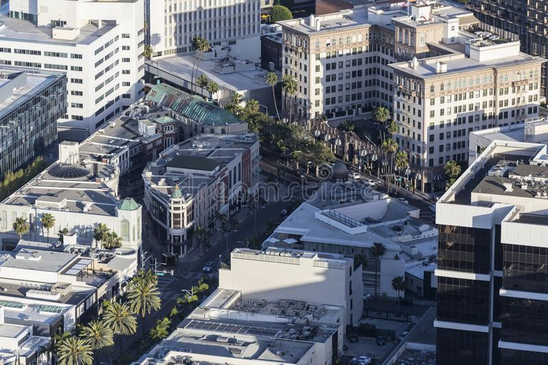 Beverly Hills California Rodeo Drive At Wilshire Aerial stock photo