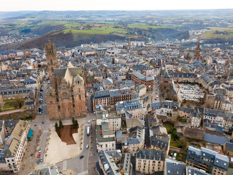 Aerial view of Rodez stock photo