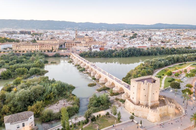 Aerial view of Roman bridge and Mosque - Cathedral of Cordoba, Andalusia, Spain royalty free stock images