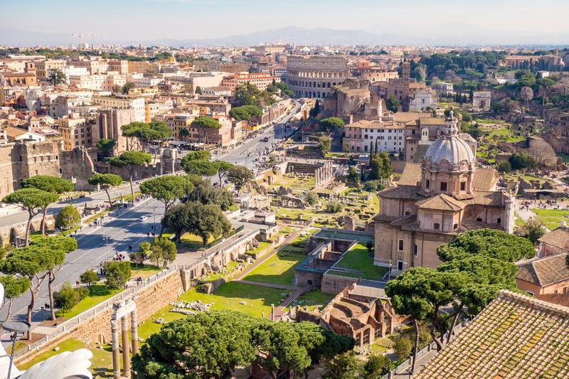 Aerial view of the Roman Forum and Colosseum in Rome, Italy royalty free stock images