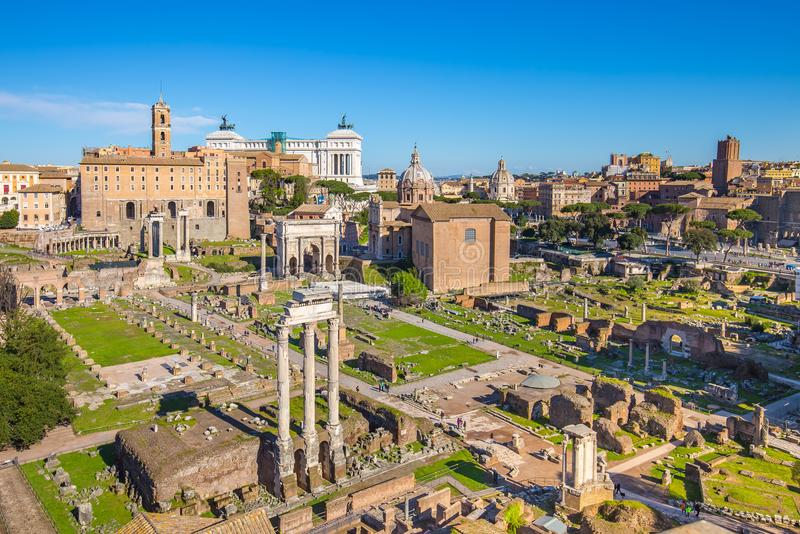 Aerial view of Roman Forum or Foro Romano in Rome, Italy.  royalty free stock image