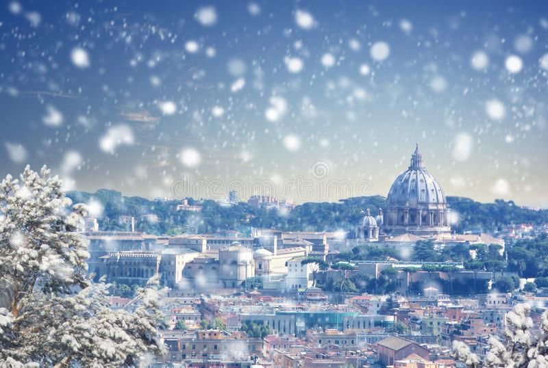 Aerial view of Rome cityscape at winter sunset in Italy. Christmas background : Aerial view of Rome cityscape at winter sunset in Italy. Vintage colored picture stock photography