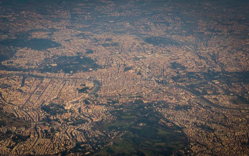 Aerial view of Rome in Italy from flying plane royalty free stock image