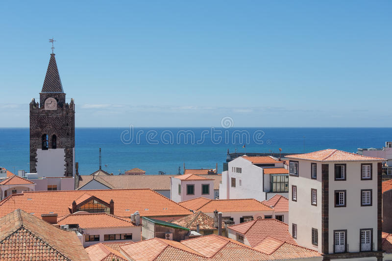 Aerial view roofs of Funchal with cathedral tower, Madeira, Portugal stock images