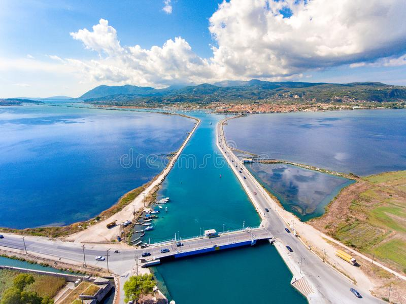Aerial view of the rotating floating bridge at the entrance of t stock photo