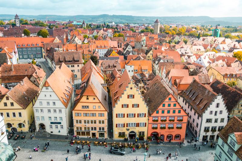 Aerial view of Rothenburg ob der Tauber, Bavaria, Germany stock photos