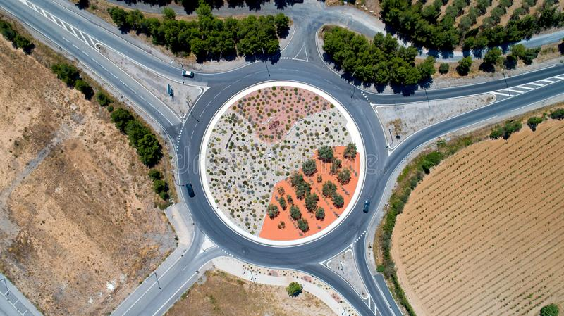 Aerial view of a roundabout in Sigean royalty free stock photos