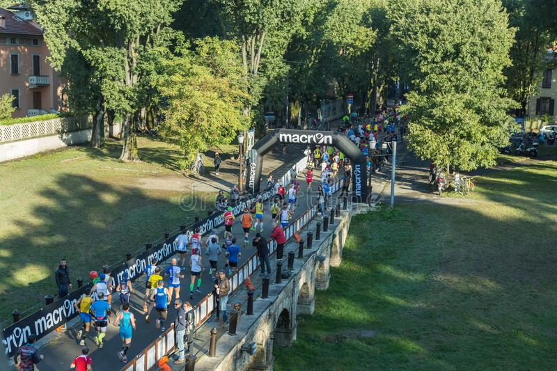 Aerial view of Runners during City Marathon Race Event.  royalty free stock photography