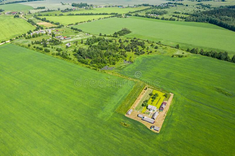 Aerial view of rural landscape with small farm among green fields stock images