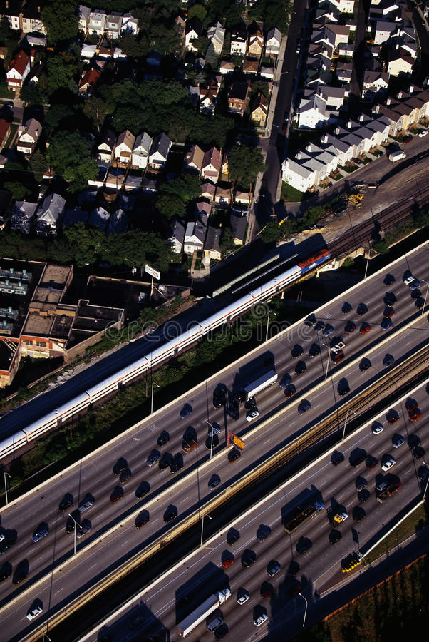 Aerial view of rush hour traffic in Chicago, IL royalty free stock photos
