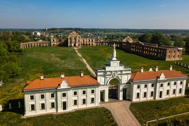 Aerial view of Ruzhany Palace on sunny day, Belarusian attraction, Belarus. Residence of Sapieha stock images
