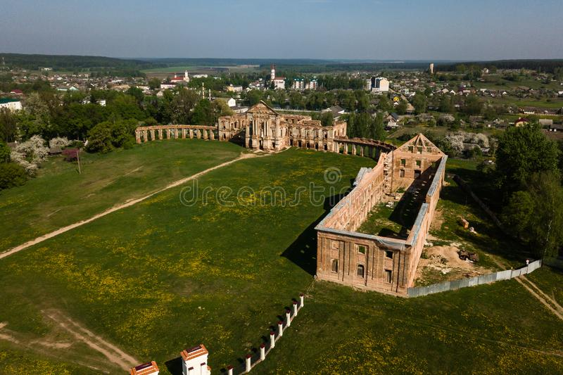 Aerial view of Ruzhany Palace on sunny day, Belarusian attraction, Belarus. Residence of Sapieha royalty free stock photography