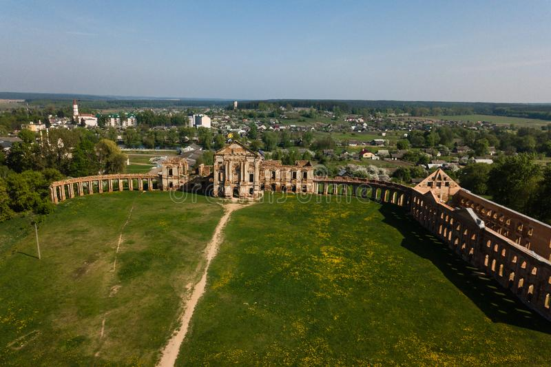 Aerial view of Ruzhany Palace on sunny day, Belarusian attraction, Belarus. Residence of Sapieha royalty free stock image