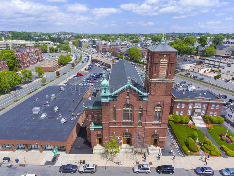 Sacred Heart Rectory Church, Malden, MA, USA. Aerial view Sacred Heart Rectory Church in downtown Malden, Massachusetts, USA royalty free stock photo