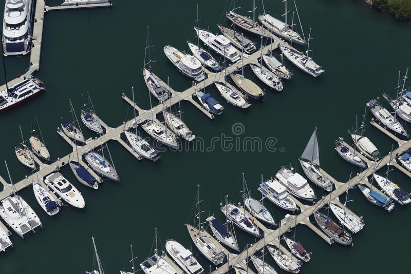 Aerial view of sail boats docked stock photos