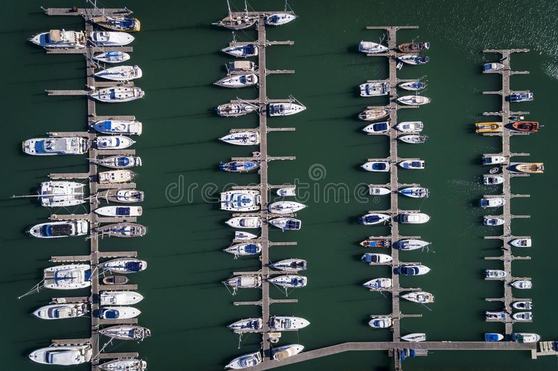 Aerial view of sail boats docked in a Marina in Portimao, Algarve royalty free stock photography