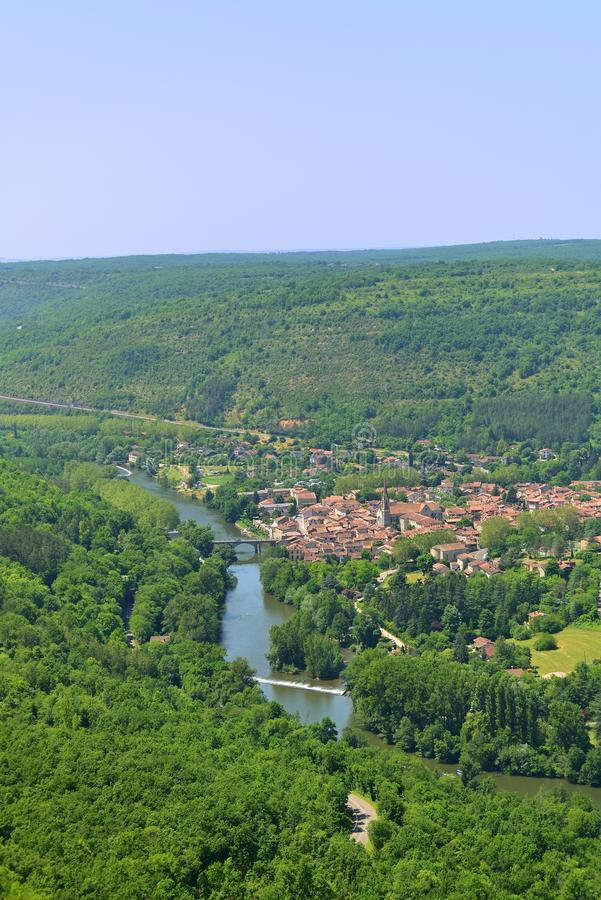 Aerial View Of Saint Antonin Noble Val, A Lovely Historical Village In Southern France Royalty Free Stock Photography