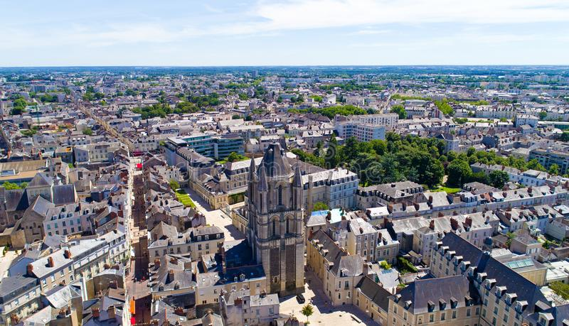 Aerial photography of the Saint Aubin tower in Angers royalty free stock photography