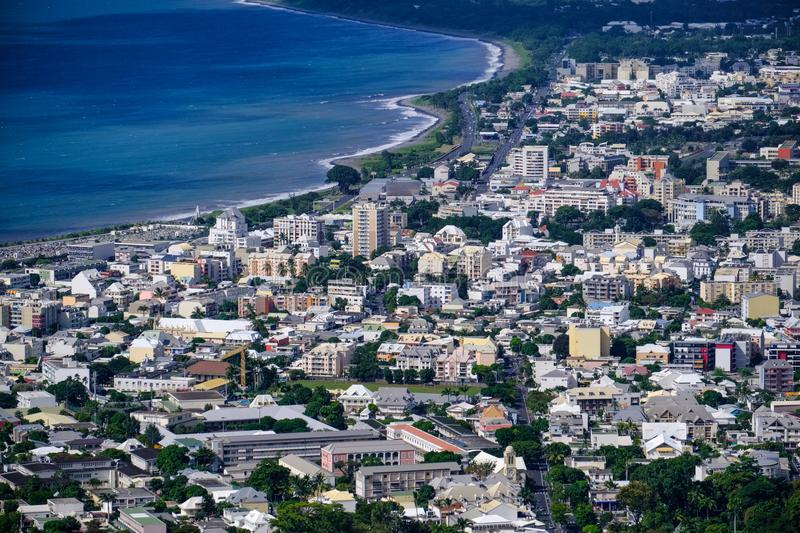 Aerial view of Saint Denis of la Reunion. With Indian ocean stock photo