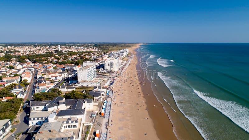 Aerial view of Saint Gilles Croix de Vie beach in Vendee stock images