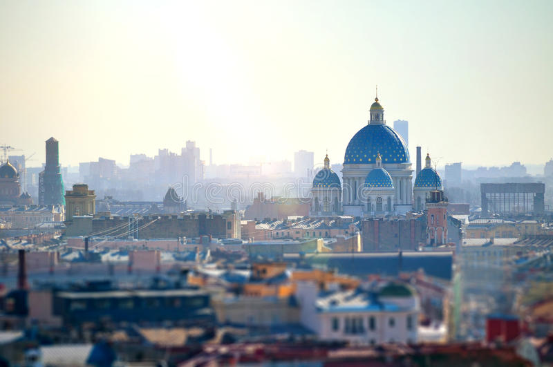 Aerial view of Saint-Petersburg roofs and Holy Trinity Izmailovo Cathedral, Russia royalty free stock photography